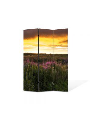 Paravan de Camera ArtDeco din 3 Panouri Peisaj Flori de camp 105 x 150 cm
