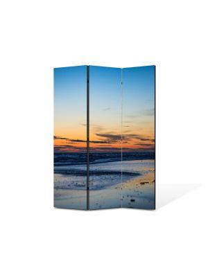 Paravan de Camera ArtDeco din 3 Panouri Peisaj Plaja pustie 105 x 150 cm