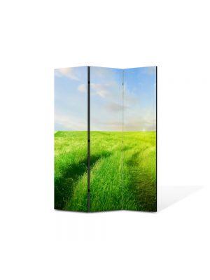 Paravan de Camera ArtDeco din 3 Panouri Peisaj Carare verde 105 x 150 cm