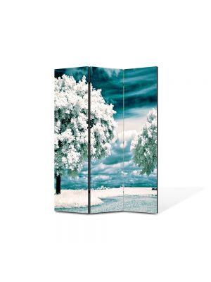 Paravan de Camera ArtDeco din 3 Panouri Peisaj Copaci albi 105 x 150 cm