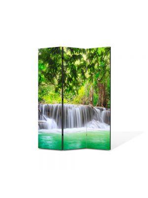 Paravan de Camera ArtDeco din 3 Panouri Peisaj Cascade multiple 105 x 150 cm