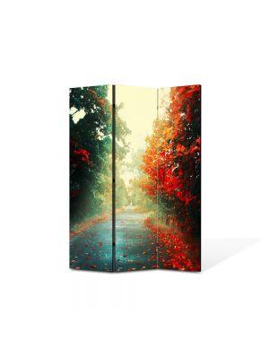 Paravan de Camera ArtDeco din 3 Panouri Peisaj Printre copaci 105 x 150 cm