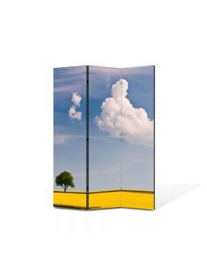 Paravan de Camera ArtDeco din 3 Panouri Peisaj Linie galbena 105 x 150 cm