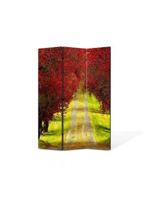 Paravan de Camera ArtDeco din 3 Panouri Peisaj Drum la vale 105 x 150 cm