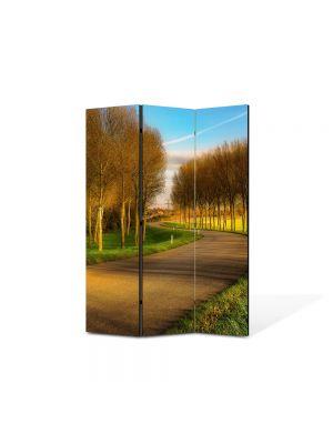 Paravan de Camera ArtDeco din 3 Panouri Peisaj Drum printre puieti 105 x 150 cm