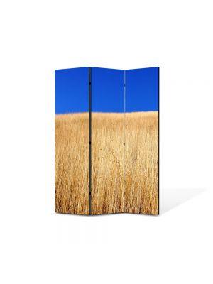 Paravan de Camera ArtDeco din 3 Panouri Peisaj Lan de grau sub cerul albastru 105 x 150 cm