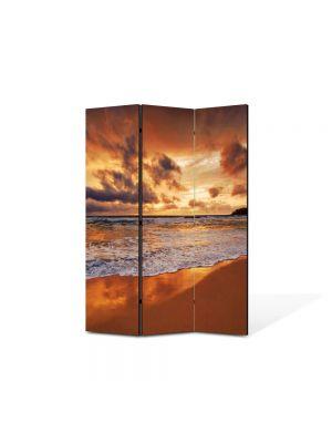 Paravan de Camera ArtDeco din 3 Panouri Peisaj Valuri 105 x 150 cm