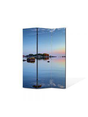 Paravan de Camera ArtDeco din 3 Panouri Peisaj Stanci pe lac 105 x 150 cm