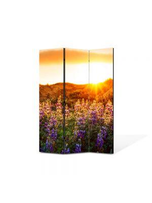 Paravan de Camera ArtDeco din 3 Panouri Peisaj Flori violet la munte 105 x 150 cm