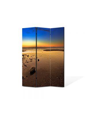 Paravan de Camera ArtDeco din 3 Panouri Peisaj Plaja imensa 105 x 150 cm