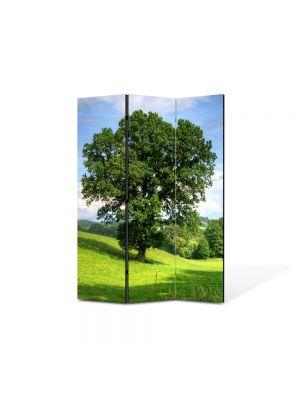 Paravan de Camera ArtDeco din 3 Panouri Peisaj Copac masiv 105 x 150 cm