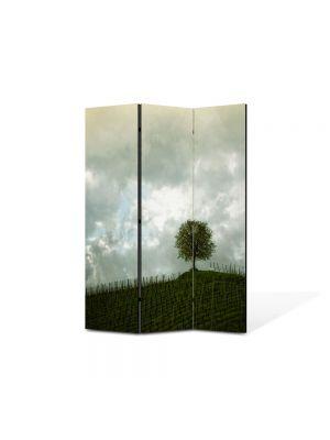 Paravan de Camera ArtDeco din 3 Panouri Peisaj Copac si nori 105 x 150 cm
