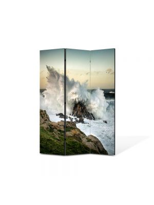 Paravan de Camera ArtDeco din 3 Panouri Peisaj Val izbit de stanca 105 x 150 cm
