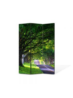 Paravan de Camera ArtDeco din 3 Panouri Peisaj Umbre de copaci batrani 105 x 150 cm