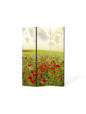 Paravan de Camera ArtDeco din 3 Panouri Peisaj Maci superbi 105 x 150 cm