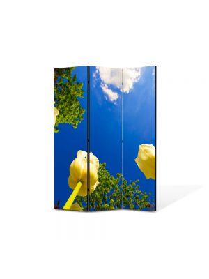 Paravan de Camera ArtDeco din 3 Panouri Peisaj Lalele spre cer 105 x 150 cm