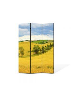 Paravan de Camera ArtDeco din 3 Panouri Peisaj Sirag de copaci 105 x 150 cm