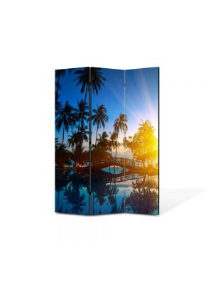 Paravan de Camera ArtDeco din 3 Panouri Peisaj Exotic 105 x 150 cm