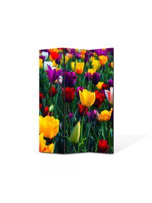 Paravan de Camera ArtDeco din 3 Panouri Peisaj Lalele Colorate 105 x 150 cm