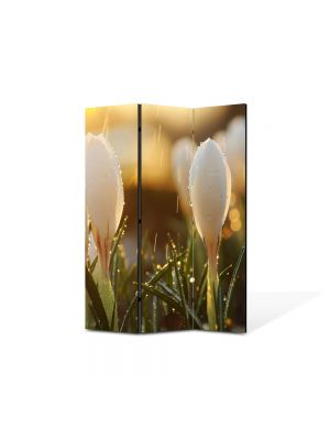 Paravan de Camera ArtDeco din 3 Panouri Peisaj Ghiocei 105 x 150 cm