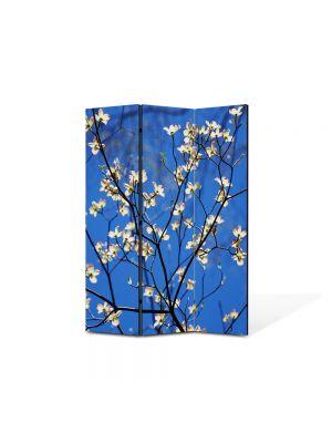 Paravan de Camera ArtDeco din 3 Panouri Peisaj Flori albastru intens 105 x 150 cm