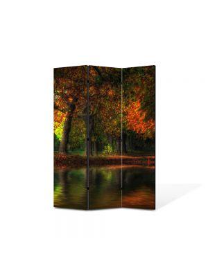 Paravan de Camera ArtDeco din 3 Panouri Peisaj Toamna noaptea 105 x 150 cm