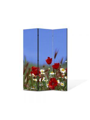 Paravan de Camera ArtDeco din 3 Panouri Peisaj Flori pe camp 105 x 150 cm