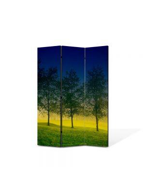 Paravan de Camera ArtDeco din 3 Panouri Peisaj Patru Copaci 105 x 150 cm