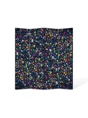 Paravan de Camera ArtDeco din 4 Panouri Abstract Decorativ Culori 140 x 150 cm