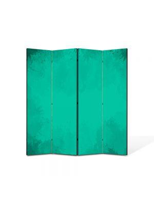 Paravan de Camera ArtDeco din 4 Panouri Abstract Decorativ Turcoaz 140 x 150 cm