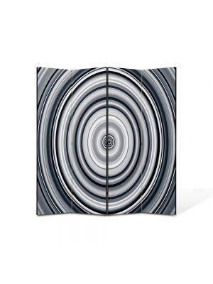 Paravan de Camera ArtDeco din 4 Panouri Abstract Decorativ Cercuri B&W 140 x 150 cm