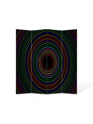 Paravan de Camera ArtDeco din 4 Panouri Abstract Decorativ Cercuri colorate 140 x 150 cm