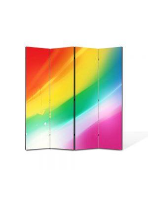 Paravan de Camera ArtDeco din 4 Panouri Abstract Decorativ Culorile curcubeului 140 x 150 cm