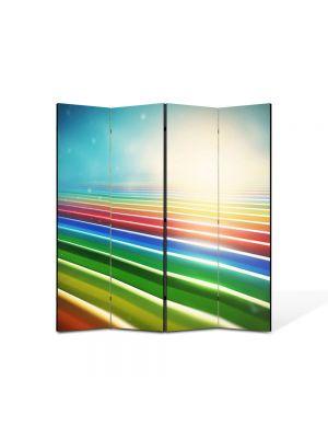 Paravan de Camera ArtDeco din 4 Panouri Abstract Decorativ Dungile curcubeului 140 x 150 cm