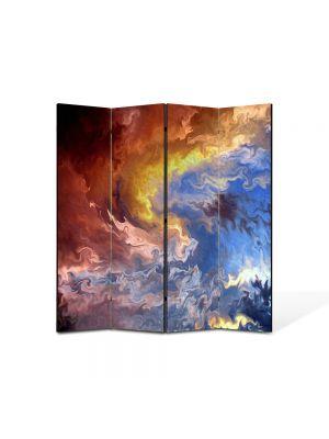 Paravan de Camera ArtDeco din 4 Panouri Abstract Decorativ Furtuna 140 x 150 cm