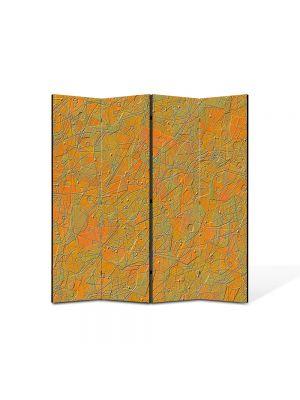 Paravan de Camera ArtDeco din 4 Panouri Abstract Decorativ Textura portocalie 140 x 150 cm
