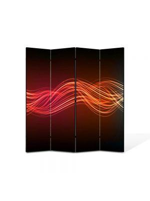 Paravan de Camera ArtDeco din 4 Panouri Abstract Decorativ Unde luminoase 140 x 150 cm