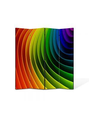 Paravan de Camera ArtDeco din 4 Panouri Abstract Decorativ Curcubeu 140 x 150 cm