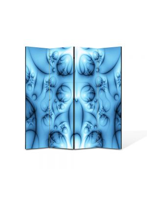 Paravan de Camera ArtDeco din 4 Panouri Abstract Decorativ Colaj albastru 140 x 150 cm