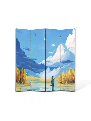 Paravan de Camera ArtDeco din 4 Panouri Abstract Decorativ Animatie 140 x 150 cm