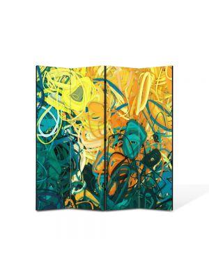 Paravan de Camera ArtDeco din 4 Panouri Abstract Decorativ Nuante pastelate 140 x 150 cm