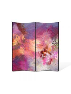 Paravan de Camera ArtDeco din 4 Panouri Abstract Decorativ Roz 140 x 150 cm