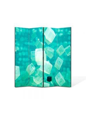 Paravan de Camera ArtDeco din 4 Panouri Abstract Decorativ Cuburi turcuaz 140 x 150 cm