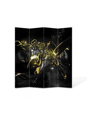 Paravan de Camera ArtDeco din 4 Panouri Abstract Decorativ Compozitie cu galben si negru 140 x 150 cm