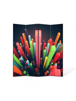 Paravan de Camera ArtDeco din 4 Panouri Abstract Decorativ Zgarie nori abstracti 140 x 150 cm