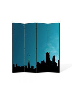 Paravan de Camera ArtDeco din 4 Panouri Abstract Decorativ Orasul 140 x 150 cm
