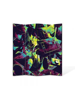 Paravan de Camera ArtDeco din 4 Panouri Abstract Decorativ Culori vintage 140 x 150 cm