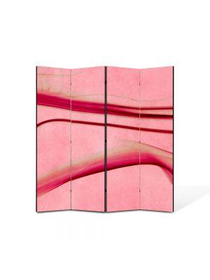 Paravan de Camera ArtDeco din 4 Panouri Abstract Decorativ Roz abstract 140 x 150 cm