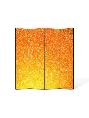 Paravan de Camera ArtDeco din 4 Panouri Abstract Decorativ Orange 140 x 150 cm