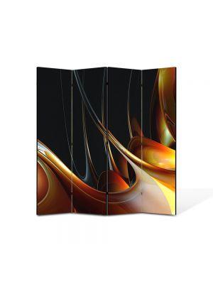 Paravan de Camera ArtDeco din 4 Panouri Abstract Decorativ Miere 140 x 150 cm